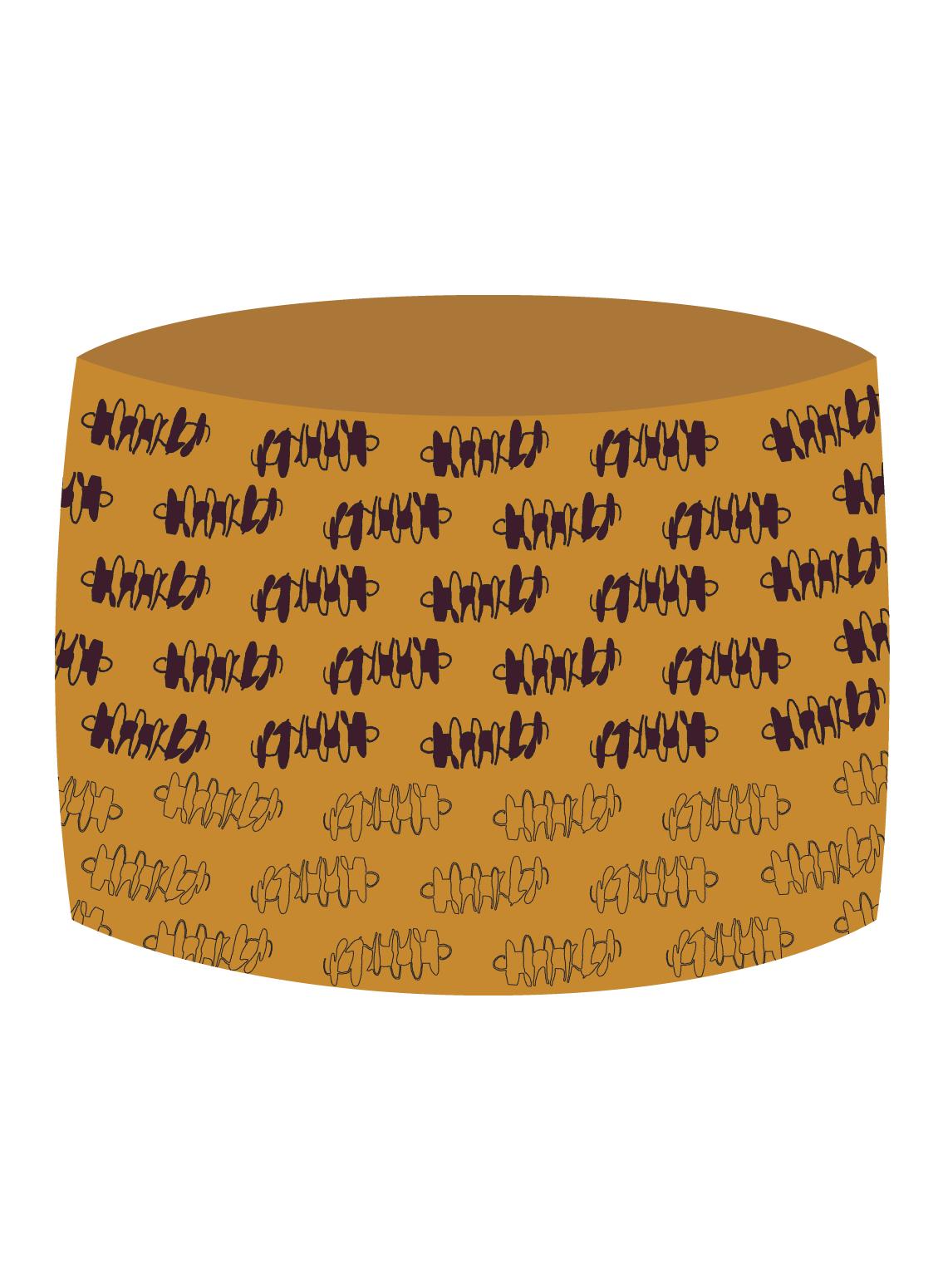Schlauchtuch bedruckt mit Pastaprint in Senfgelb aus Biobaumwolle