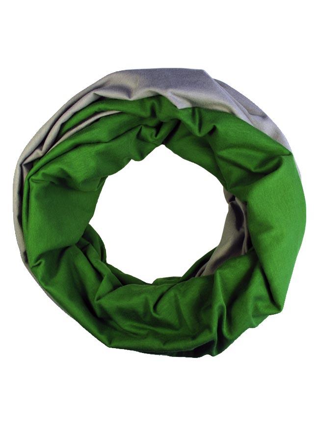 Loop um Wenden in Kiwi Grün und Grau aus Biobaumwolle