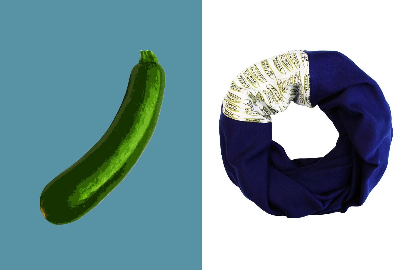 Loop mit bedrucktem Einsatz mit Zucchini Print Marineblau