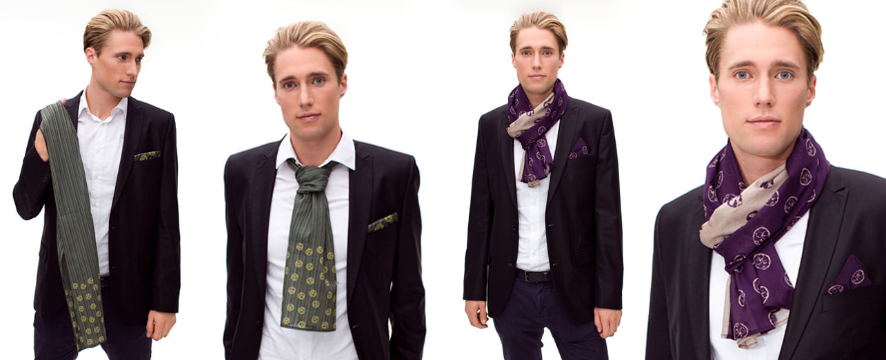 Philipp mit Schals zum Herrenanzug
