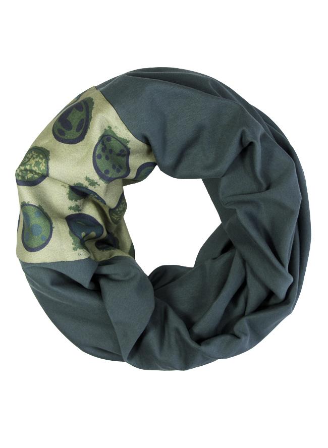 Bioloop in dunklem Grünblau mit bedrucktem Einsatz für Herren